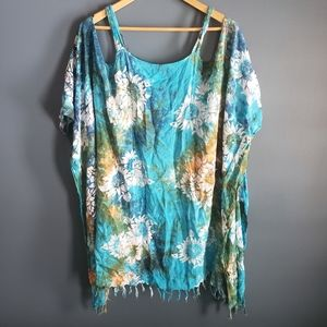 Kosi Bali Collection teal flower coverup OS